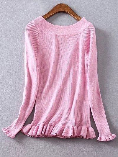 Ribbed Boat Neck Frilled Jumper - PINK 2XL Mobile