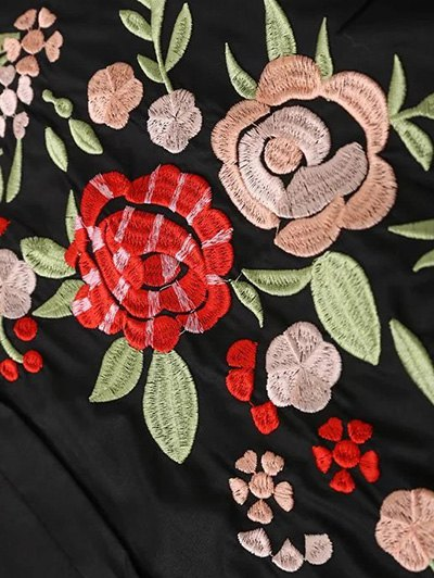 Flower Embroidered Shirt Dress - BLACK L Mobile