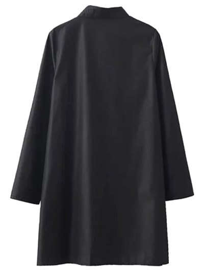 Flower Embroidered Shirt Dress - BLACK S Mobile