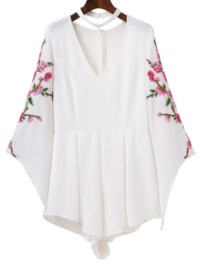 Embroidered Sleeve Choker Romper - WHITE L Mobile