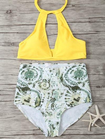 High Rise Halter Plunge Bikini - Green And Yellow