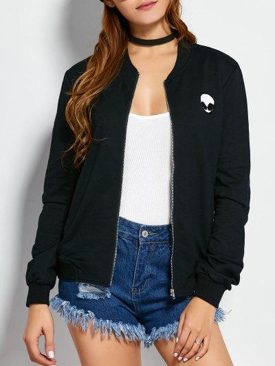 Zip Up Alien Sweatshirt Jacket - Black