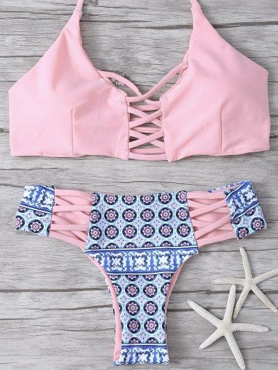 Criss-Cross Tribal Print Bikini - Pink