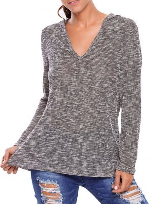 Heathered Hooded Knitwear - Gray