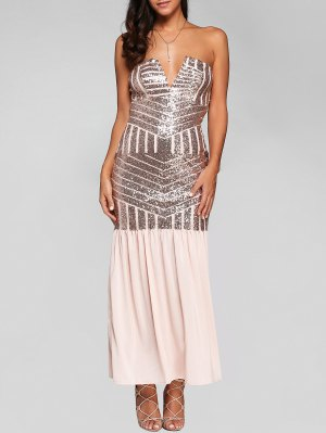 Sparkly Sequins Bandeau Prom Dress - Pink