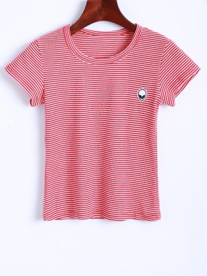 Striped Alien Embroidered Cropped T-Shirt - Red And White