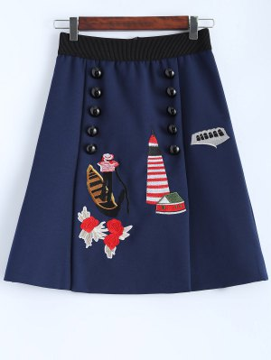 A Line Embroidered Skirt - Cadetblue