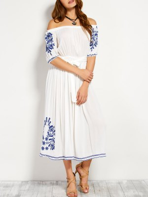 Off Shoulder Embroidered Belted Dress - White