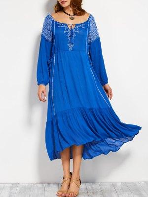Drawstring Retro Embroidered Maxi Dress - Blue