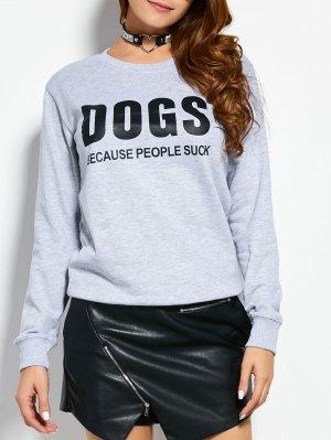 Letter Dogs Graphic Sweatshirt - Gray