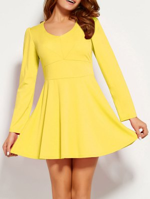 Long Sleeve V Neck Skater Dress - Yellow