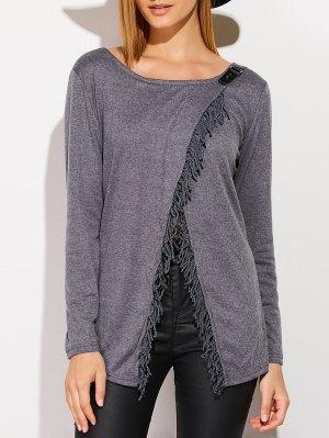 Tassels Long Sleeve Cardigan - Deep Gray