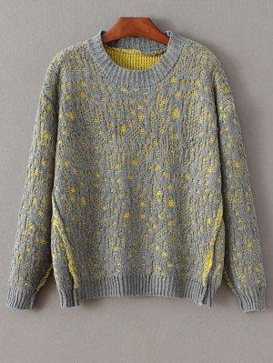 Crew Neck Crochet Sweater - Gray