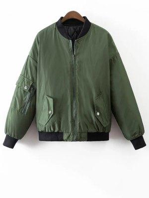 Crane Embroidered Zippered Souvenir Jacket - Green
