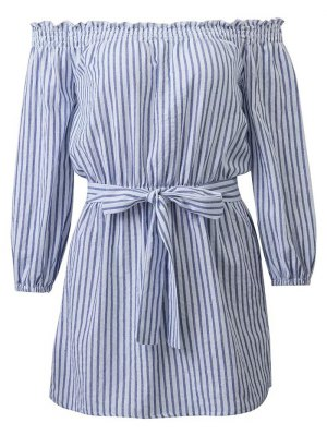 Striped Off Shoulder Belted Dress - Blue And White
