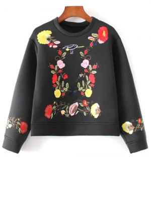 Floral Embroidered Boxy Sweatshirt - Black