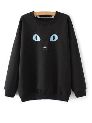 Eye Embroidered Crew Neck Sweatshirt - Black