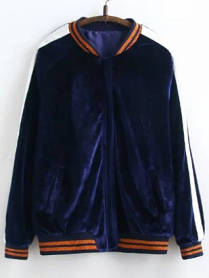 Velvet Floral Embroidered Jacket - Purplish Blue