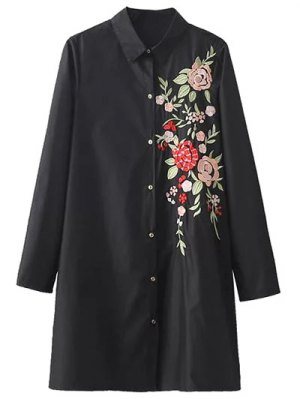 Flower Embroidered Shirt Dress - Black