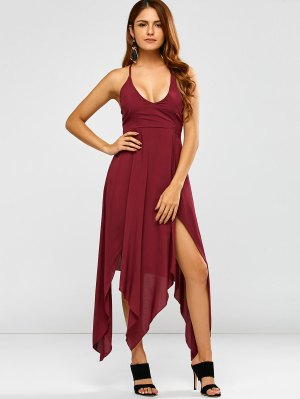 Low Cut Strappy Maxi Hankerchief Dress - Wine Red