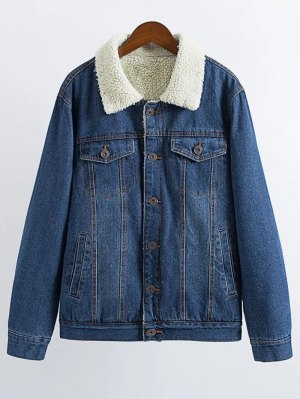 Lamb Wool Denim Jacket - Deep Blue