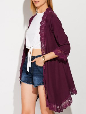 Lace Spliced Duster Coat - Purplish Red