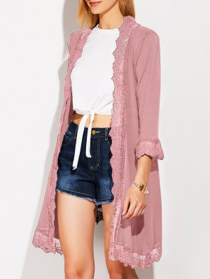 Lace Spliced Duster Coat - Shallow Pink