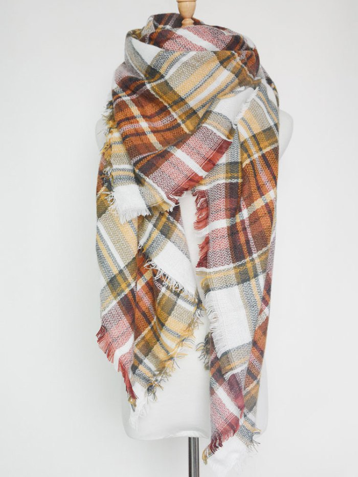 Plaid Print Fringed Square Scarf