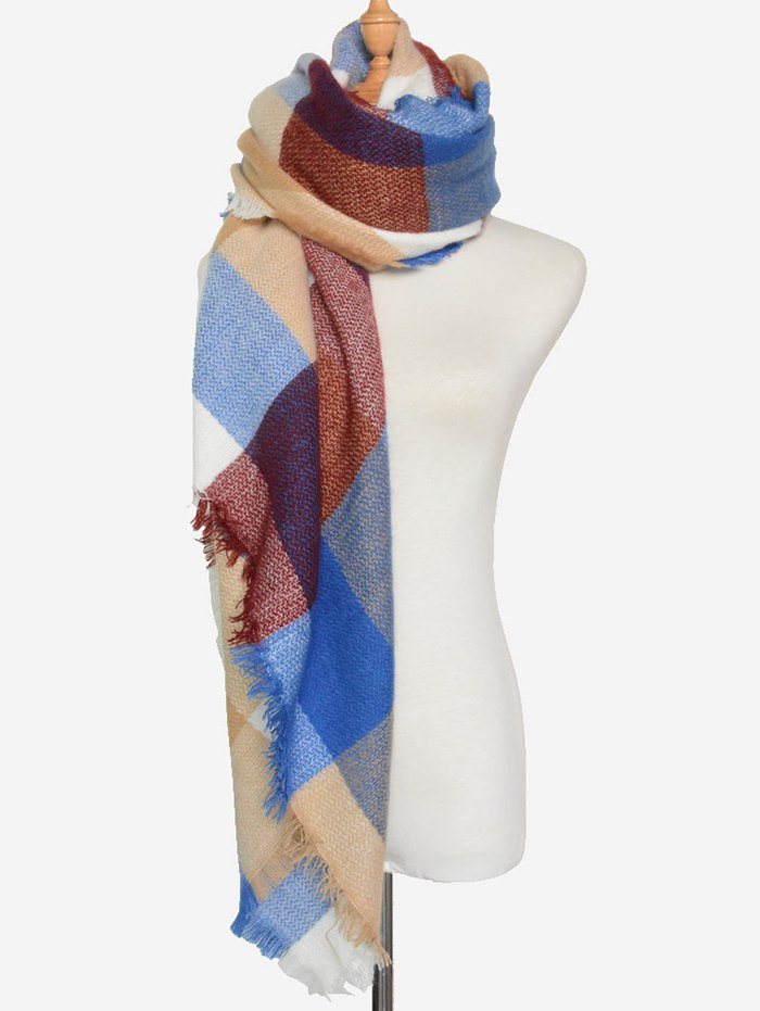 Big Plaid Fringed Square Scarf