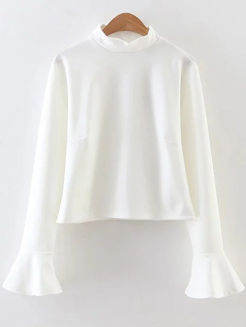 Flare Sleeve Ruffled Blouse