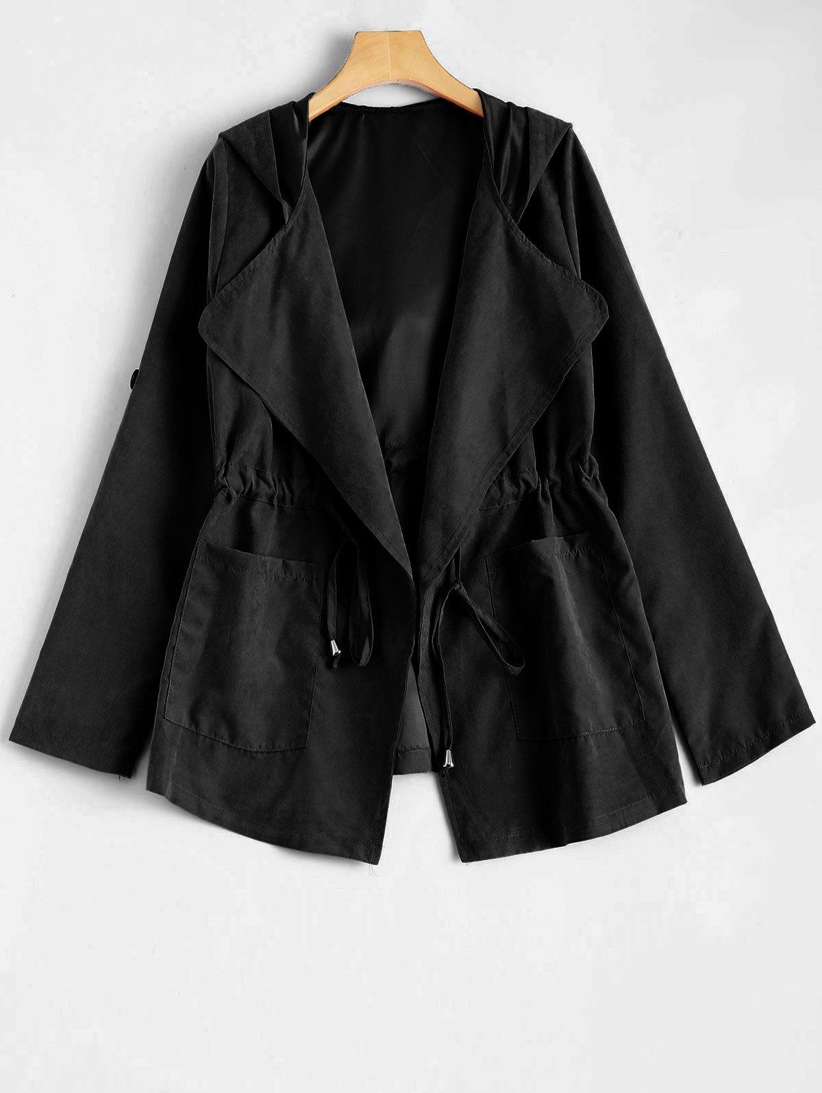 Hooded Drawstring Design Jacket