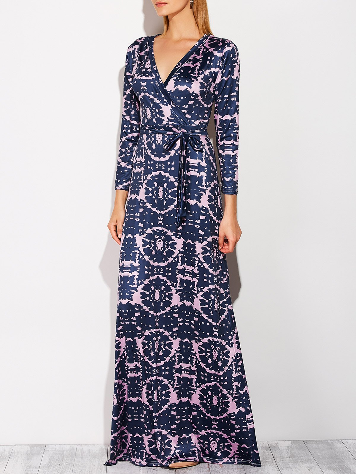 Plunging Neck Tie-Dyed Maxi DressClothes<br><br><br>Size: L<br>Color: PURPLISH BLUE