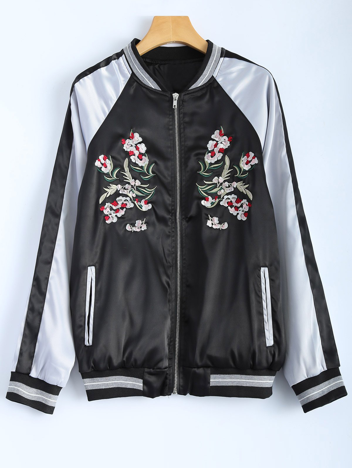 Color Block Flower Embroidery Jacket