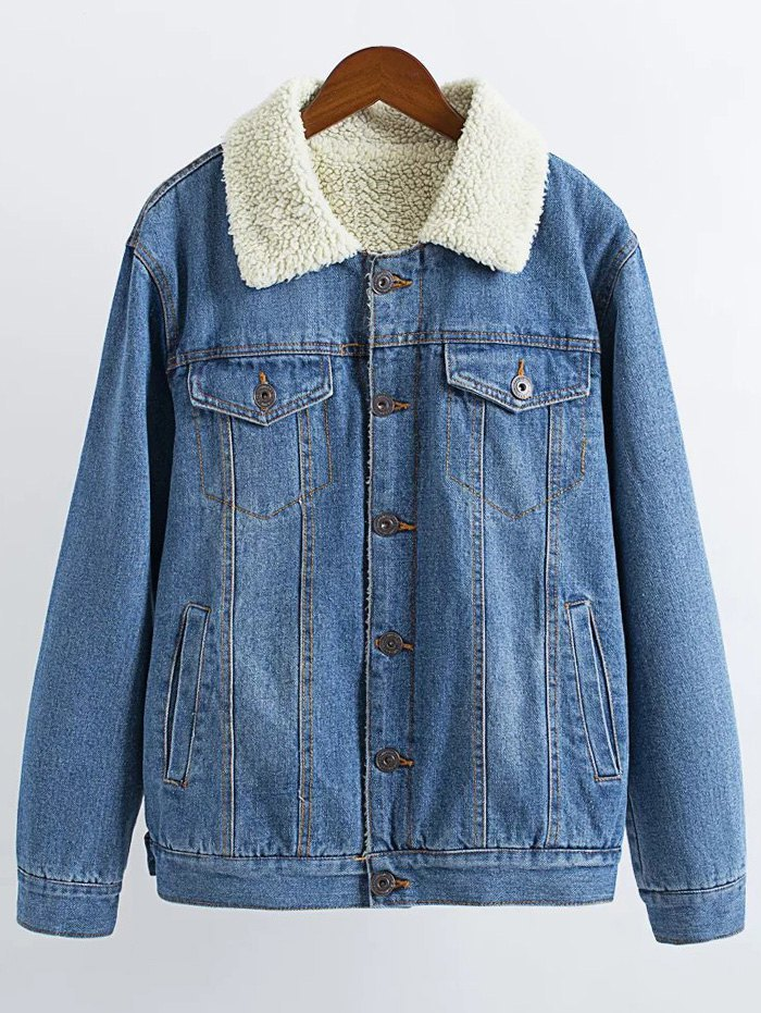 Lamb Wool Denim Jacket