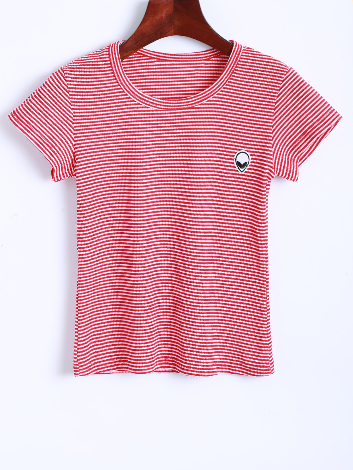 Jewel Neck Striped Cropped T-Shirt