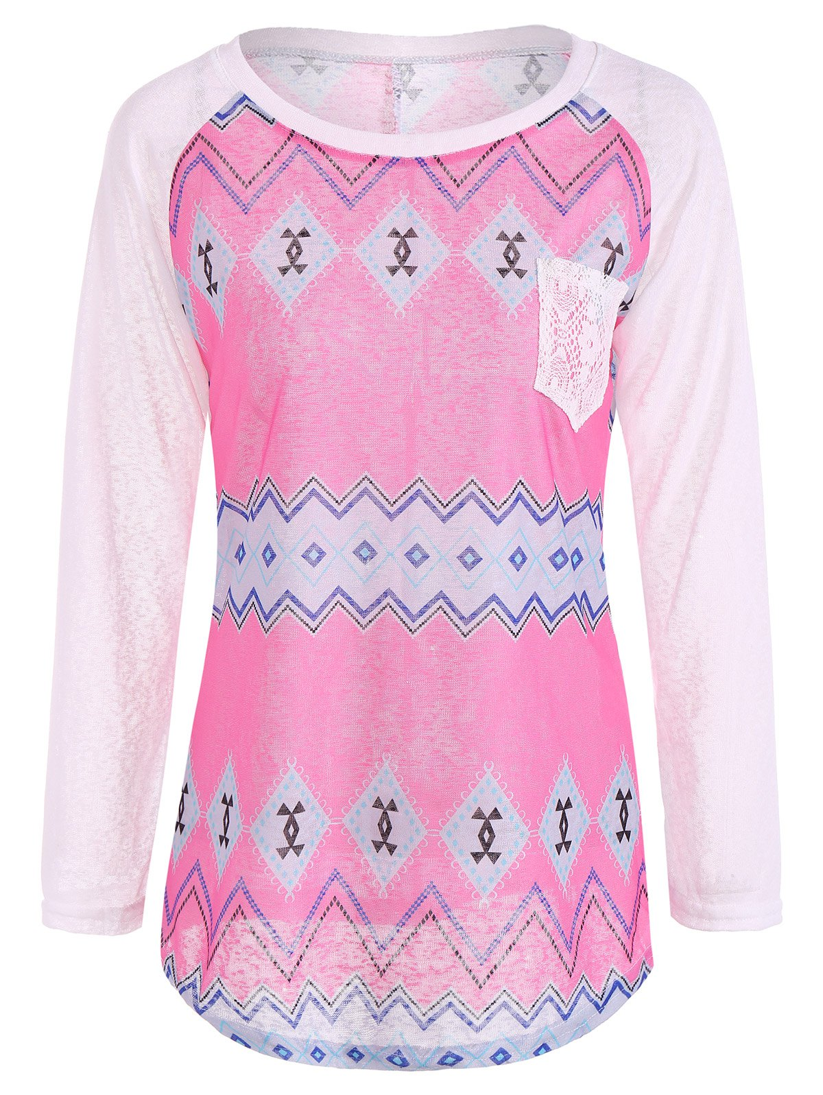 Tribal Print Long Sleeve Pocket TeeClothes<br><br><br>Size: M<br>Color: ROSE + WHITE