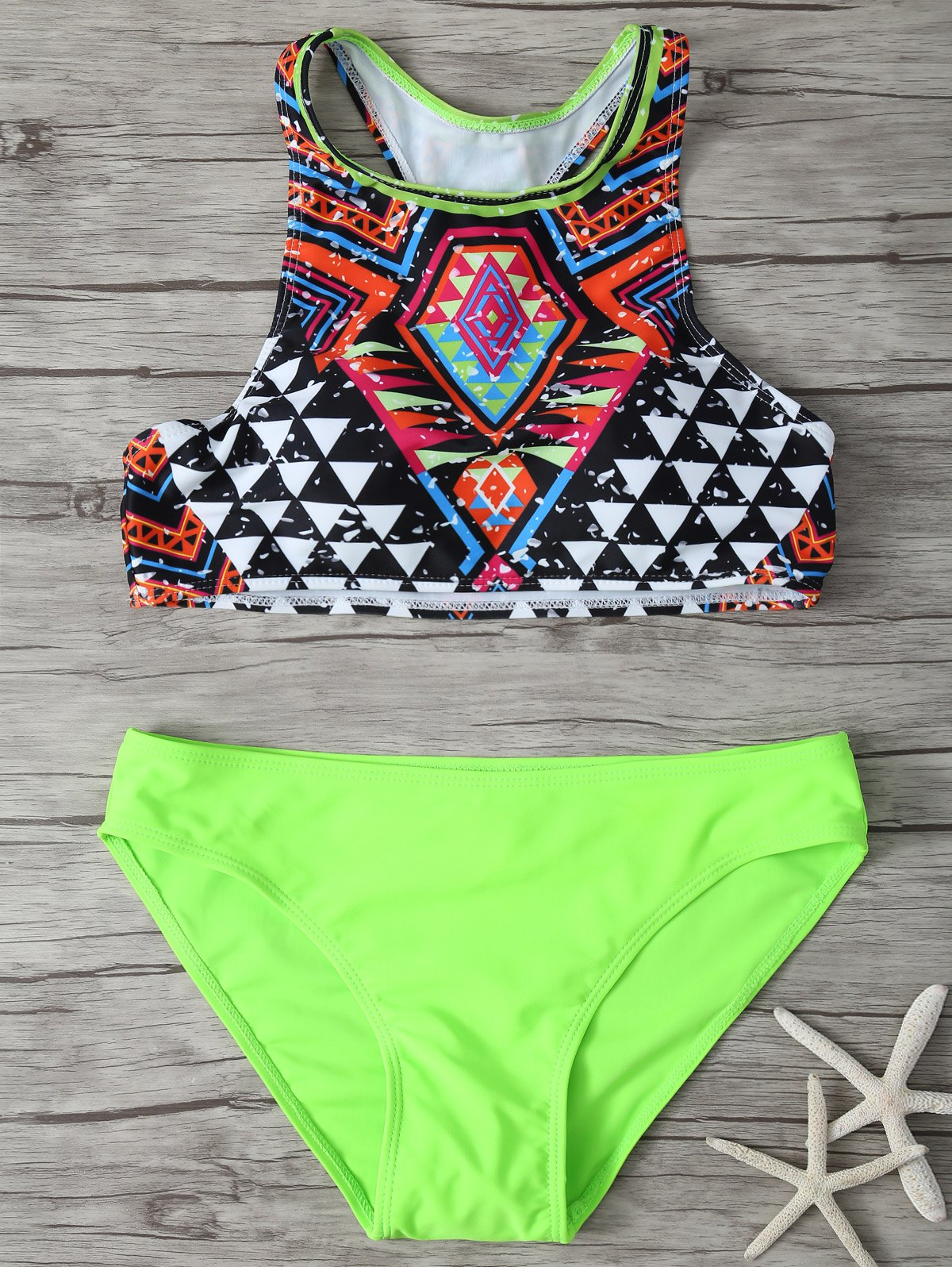 Geometric Print High Neck Bikini Set