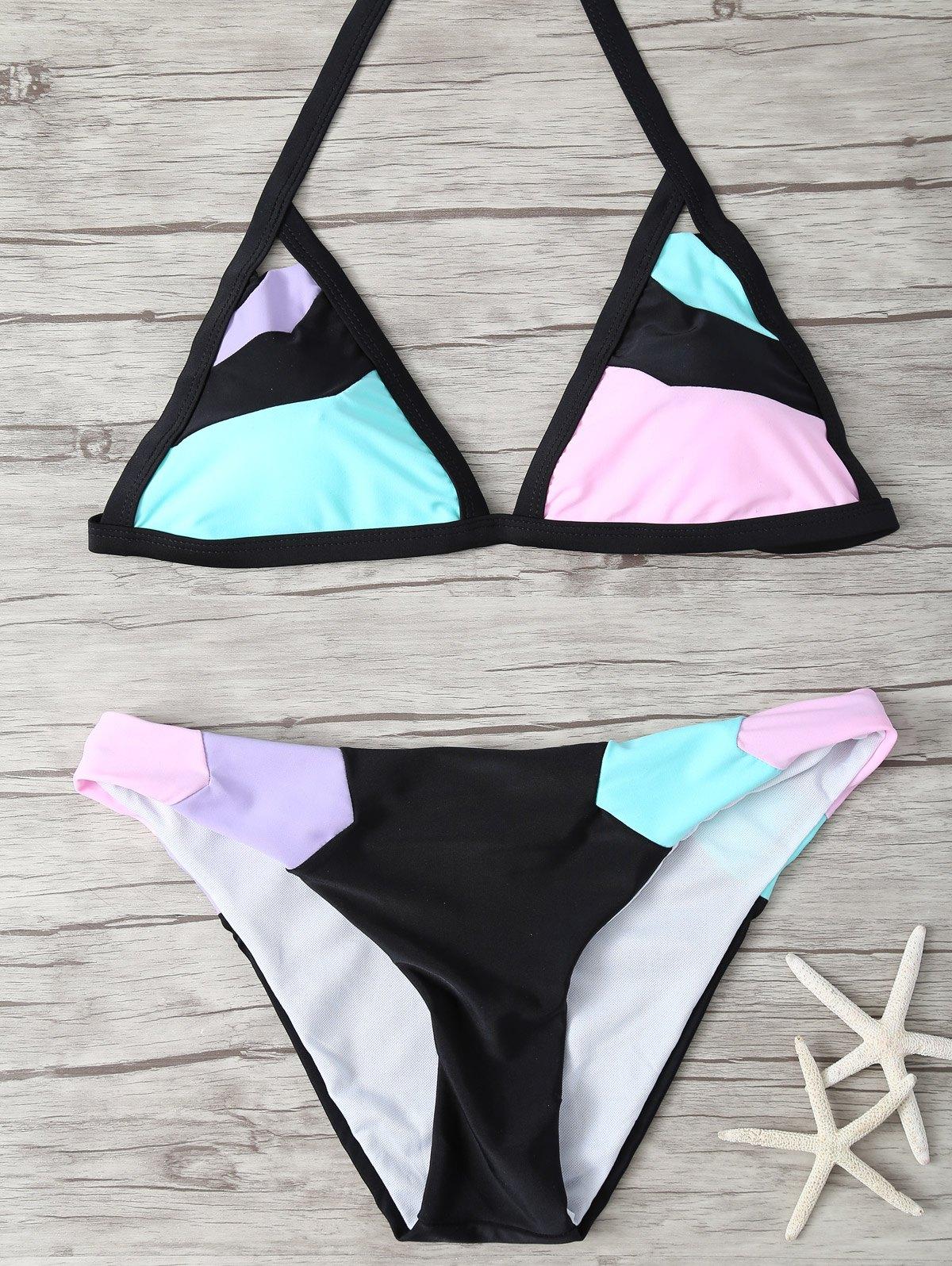 Plunging Neck Color Block Halter Bikini