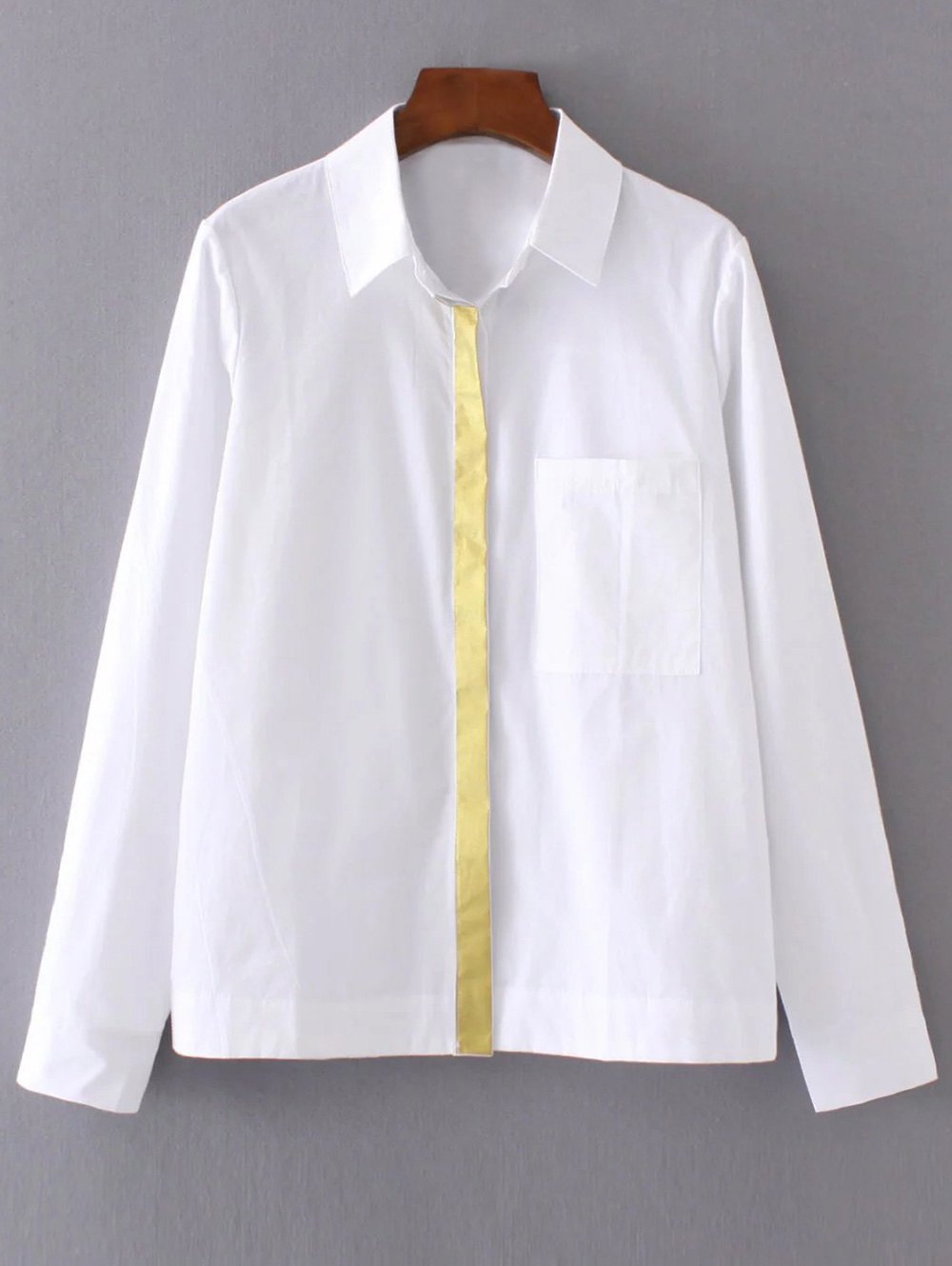 Color Block Boyfriend Pocket ShirtClothes<br><br><br>Size: L<br>Color: WHITE