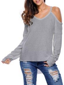 Cami Cold Shoulder Knitwear - Gray M