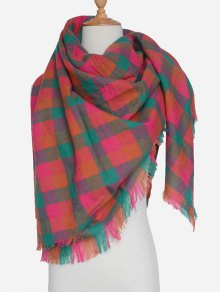 Plaid Pattern Fringed Scarf