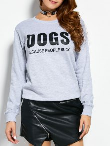 Letter Dogs Graphic Sweatshirt