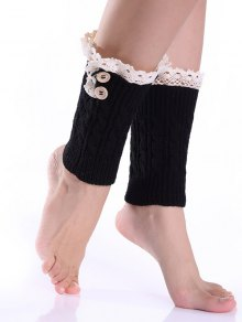 Lace Button Cable Knitted Boot Cuffs - Black