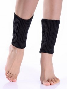 Cable Knit Boot Cuffs - Black