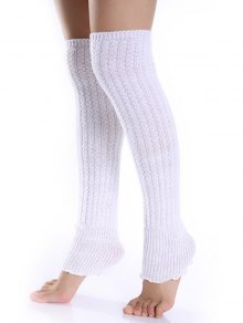 Cable Knitted Leg Warmers - White