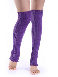 Cable Knitted Leg Warmers - Purple