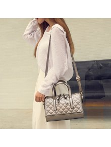 Quilted PU Leather Handbag - Silver