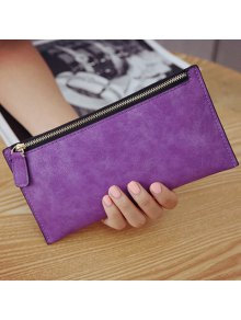 PU Leather Zip Up Coin Purse - Purple