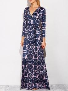 Plunging Neck Tie-Dyed Maxi Dress - Purplish Blue