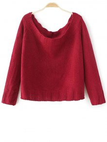 Off The Shoulder Cropped Sweater - Red